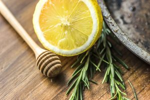 Closeup of lemon and rosemary
